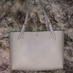 Tory Burch Emerson Buckle Tote in French Grey